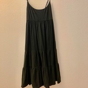 Pure DKNY Tiered Knee Length Black Cotton Dress